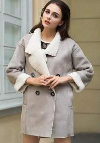 Grey Plain Pockets Tailored Collar Suede Coat