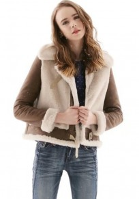 White Patchwork Lamb Wool Turndown Collar Suede Coat