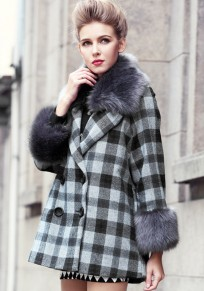 Grey Plaid Fur Collar Double Breasted Cape Type Wool Coat