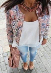 Veste floral imprimé courte blouson col ronde manches longues multicolore femme roes
