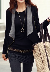 Black-Grey Plain Zipper Turndown Collar Long Sleeve Cardigan Coat