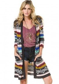 Multicolor Colorful Pockets Fashion Outerwear