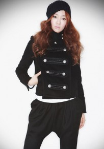 Black Plain Band Collar Double Breasted Fashion Coat