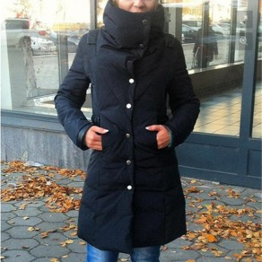 Black Plain Irregular Pockets Single Breasted High Neck Padded Coat