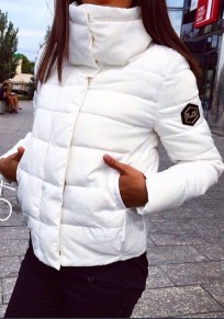 White Plain Pockets Single Breasted High Neck Padded Coat