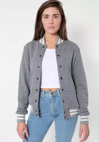 Grey Striped Buttons Pockets Band Collar Single Breasted Coat
