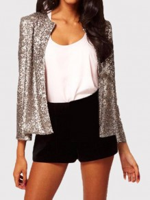 Silver Sequin Glitter Collarless Patchwork Long Sleeve Fashion Slim Casual Streetwear Cardigan Jacket Outerwear
