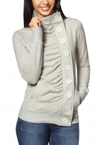 Light Grey Plain Buttons Pleated Pockets High Neck Fashion Coat