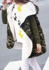 Camouflage Patchwork Pattern Hooded Cotton Blend Coat