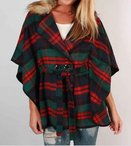 Green Plaid Buttons Tailored Collar Dolman Sleeve Single Breasted Coat