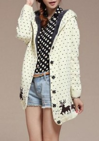 White Patchwork Deer Buttons Print Hooded Single Breasted Long Sleeve Fashion Thick Christmas Outerwear