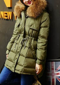Womens Army Green Plain Fur Zipper Pockets Peacoat Hooded Fashion Thick Down Coat