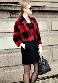 Red Plaid Buttons Pockets Turndown Collar Fashion Wool Coat