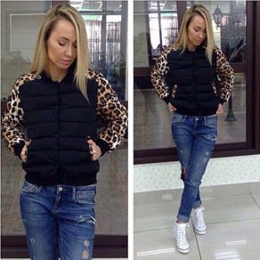 Black Leopard Buttons Pockets Band Collar Fashion Padded Coat
