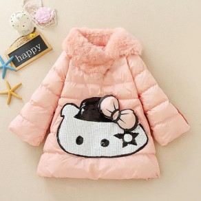 Pink Hello Kitty Pockets Sequin Bow Faux Fur Padded Coat
