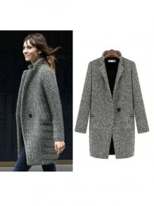 Grey Plain Houndstooth Single Button Long Sleeve Turndown Collar Casual Wool Coat