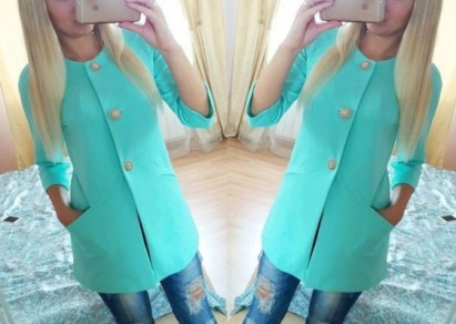 Light Green Plaid Buttons Round Neck Long Sleeve Coat