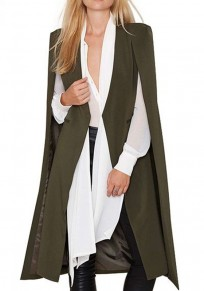Green Patchwork Pattern Collarless Casual Dacron Trench Coat