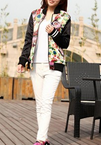 Black Patchwork Printing Pockets Zipper Long Sleeve Two-way Boho Outerwear