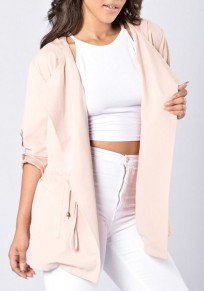 Pink Plain Zipper Turndown Collar Long Sleeve Trench Coat