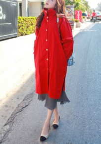 Red Plain Buttons Pockets Band Collar Oversized Coat