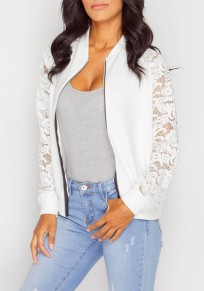 White Patchwork Hollow-out Lace Zipper Long Sleeve Coat