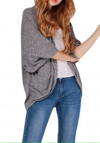 Grey Plain Collarless Elbow Sleeve Sexy Thin Coat