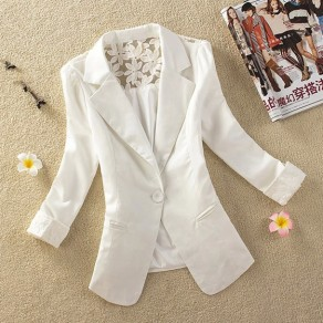 White Patchwork Buttons Pockets Lace Turndown Collar Elegant Coat