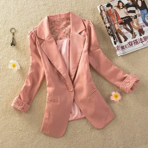 Pink Patchwork Buttons Pockets Lace Turndown Collar Elegant Coat