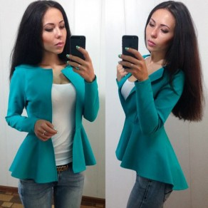 Green Plain Pleated No Button Turndown Collar Casual Coat