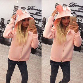 Pink Plain Zipper Hooded Long Sleeve Casual Coat