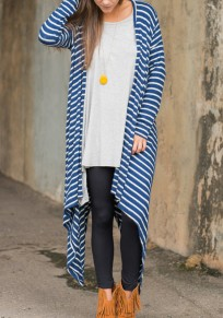 Blue Striped Collarless Short Sleeve Loose Fashion Coat