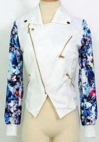 White Floral Studded Zipper Long Sleeve Casual Coat