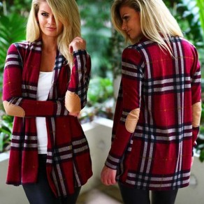 Red Plaid Appliques Collarless Long Sleeve Casual Coat