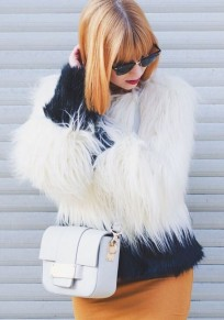 White And Black Patchwork Faux Fur Elegant Fashion Jacket Coat For Women