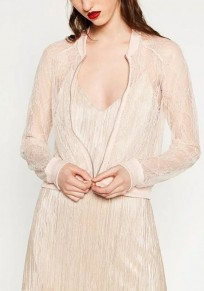Beige Patchwork Lace Zipper Hollow-out Fashion Baseball Coat