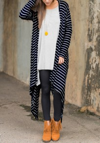 Navy Blue And White Striped Print Irregular Round Neck Casual Loose Outerwear