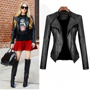 Black Plain Tailored Collar Long Sleeve Slim Fashion PU Leather Jacket Coat
