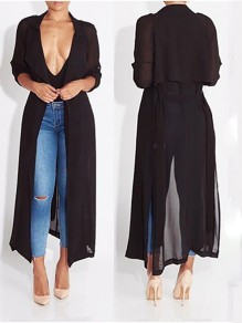 Black Plain Irregular Slits Tailored Collar Chiffon Casual Trench Coat