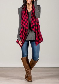 Red-Black Plaid Print Irregular Waterfall Low-High Casual Vest