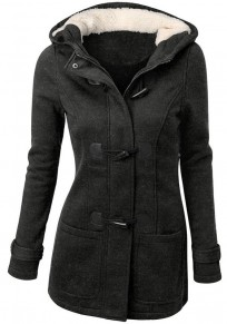 Dark Grey Plain Buttons Pockets Hooded Long Sleeve Coat