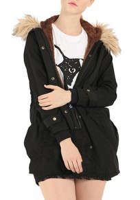 Black Plain Pockets Single Breasted Sashes Casual Thick Fur Hooded Padded Coat
