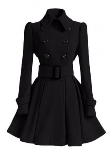 Black Plain Belt Pleated Turndown Collar Double Breasted Peplum Wool Coat