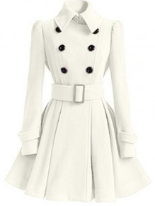 Beige Plain Belt Pleated Turndown Collar Double Breasted Peplum Peacoat Wool Coat