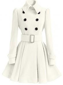 Beige Plain Belt Pleated Turndown Collar Double Breasted Peplum Wool Coat