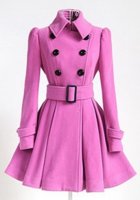 Pink Plain Belt Pleated Turndown Collar Double Breasted Peplum Peacoat Wool Coat
