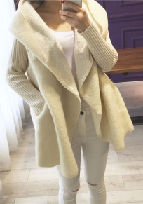 Beige Plain Irregular Hooded Single Button Loose Casual Thick Knit Sweater Coat