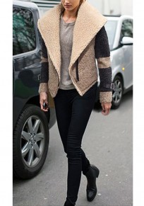 Khaki Patchwork Zipper Studded Turndown Collar Long Sleeve Coat