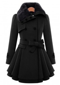 Black Plain Fur Buttons Belt Turndown Collar Fashion Double Breasted Peplum Wool Coat
