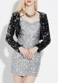 Black Plain Shining Sequin Crop Fashion Party Eve Long Sleeve Coat